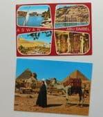 2 vintage Egyptian postcards pretty stamps Giza Pyramids Sphinx Abu Simbel D